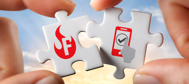 Two white puzzle pieces, the left one shows a Firebox icon in red and the right one shows an AuthPoint icon in red