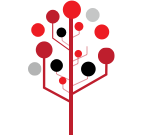 Illustration of a red tree style network diagram