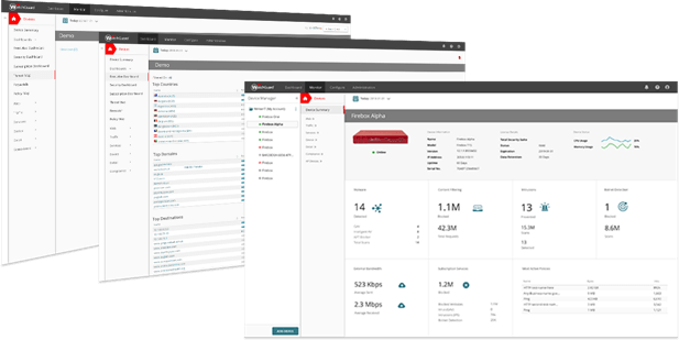 Fanned out screenshots showing different WatchGuard AuthPoint management areas