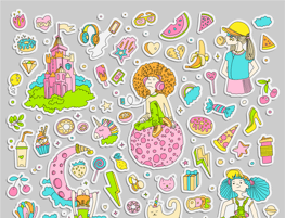 Photo: Brightly colored stickers arranged on a gray background