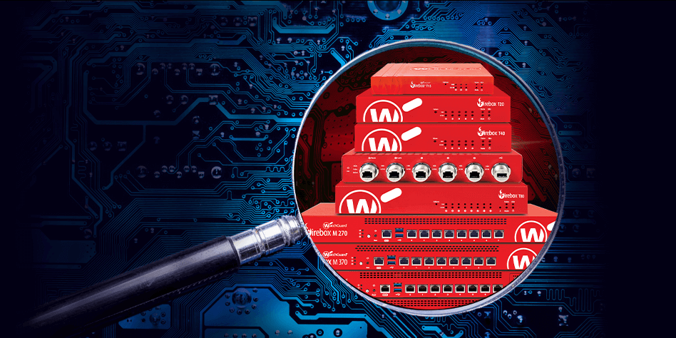 Stack of red Firebox appliances on top of a dark blue circuit board background.