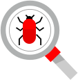 Gray magnifying glass focused on a red bug
