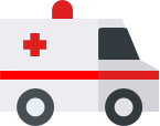 White ambulance with red cross on the side
