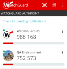 WatchGuard AuthPoint pull authentication screen