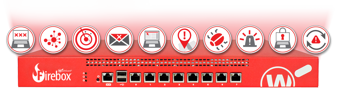 WatchGuard Firebox mit allen Security Service-Symbolen