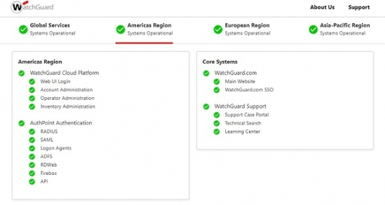 Image of status page region selector and status details