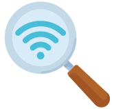 Magnifying glass with a blue wi-fi symbol inside