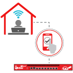 Illustration of a person using wi-fi in their home to connect to a WatchGuard Firebox using AuthPoint