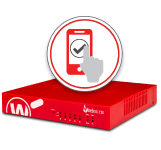 Red WatchGuard Firebox with WatchGuard AuthPoint icon on top