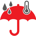 Red umbrella with gray raindrops and thermometer on top