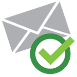 Gray email envelope with a green checkmark