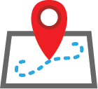 Illustration: blue dotted path with a large red map marker in the middle