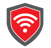 Red Shield with white wi-fi symbol on top