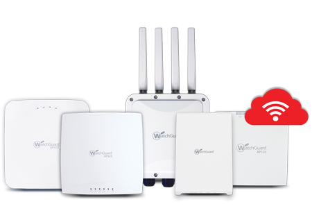 WatchGuard Access Points with white Wi-Fi symbol in a red cloud
