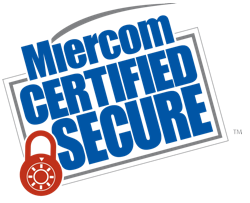 Miercom Certified Secure logo with red padlock in the lower left corner
